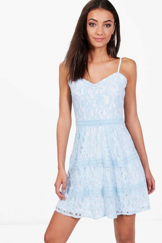 Tall Boutique Lace & Crochet Skater Dress