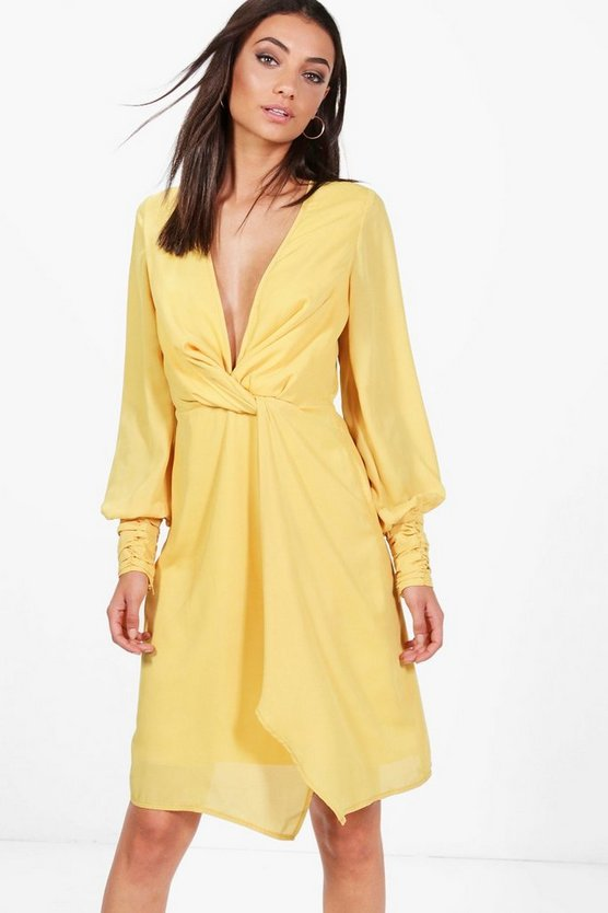 Tall Una Split Sleeve Twist Front Dress