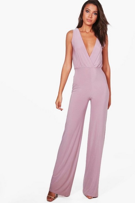 Tall Wrap Front Wide Leg Slinky Jumpsuit