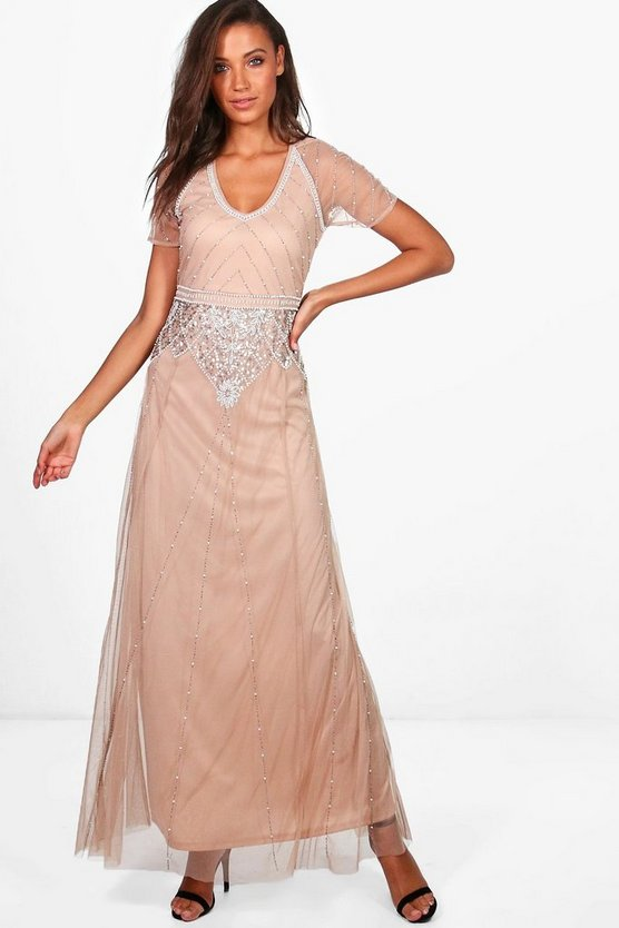 Tall Boutique Soraya Sequin & Beaded Maxi Dress