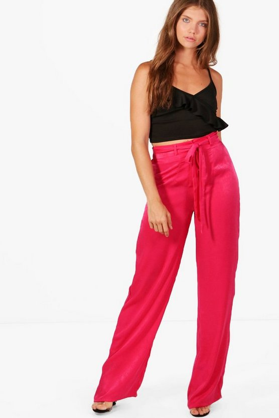 Tall Wide Leg Tie Waist Trousers