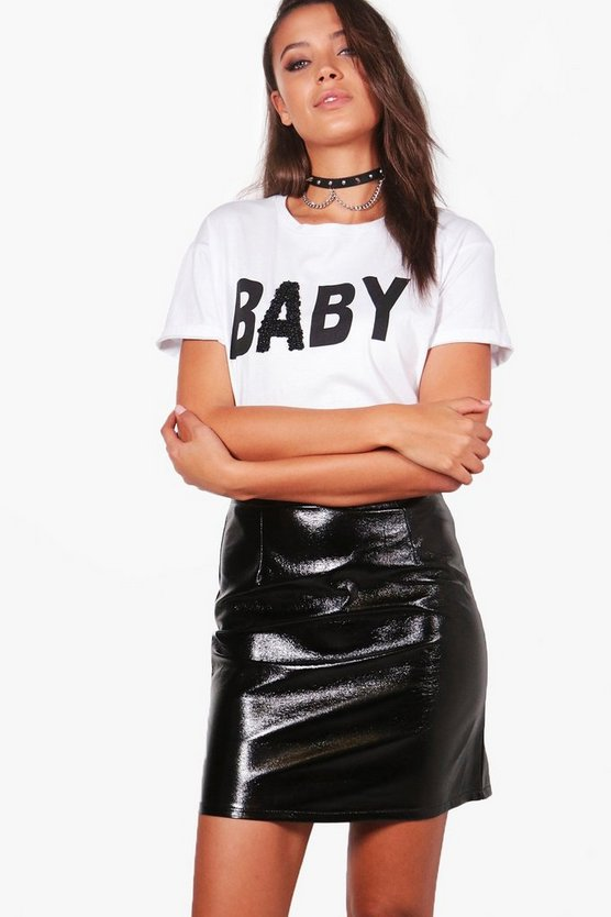 Tall Taura Vinyl A Line Mini Skirt