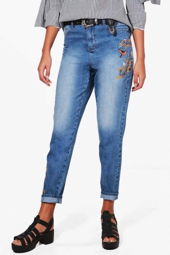 Tall Ivy Eden Embroidered Mom Jeans
