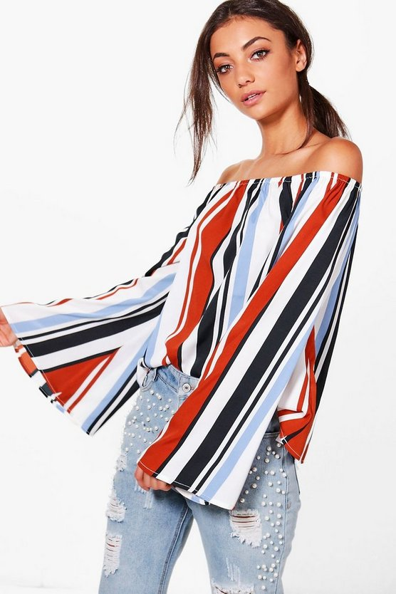 Tall Lyla Off The Shoulder Stripe Top