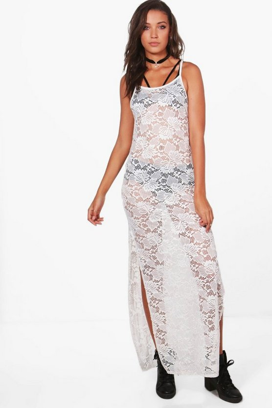 Tall Aleksa Lace Strappy Maxi Dress