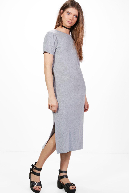 Boohoo womens tall solene v back midi t shirt dress ebay for Womens tall t shirts