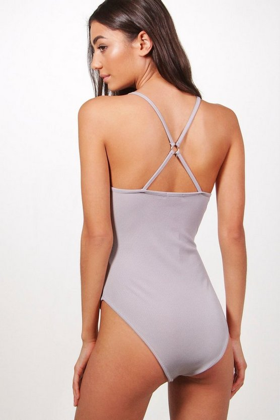 Tall Viola Strappy Back Ribbed Bodysuit