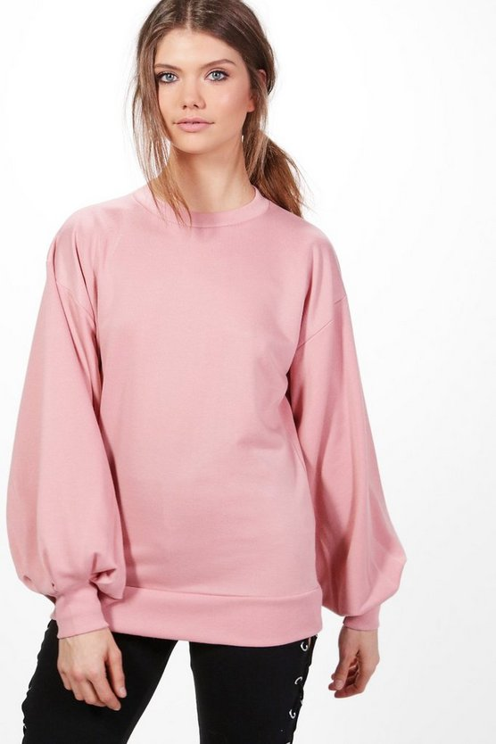 Tall Balloon Sleeve Cut Out Back Sweater