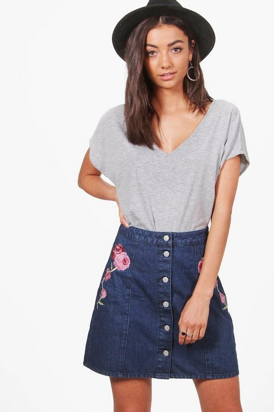 Tall Lucie Embroidered Button Through Skirt