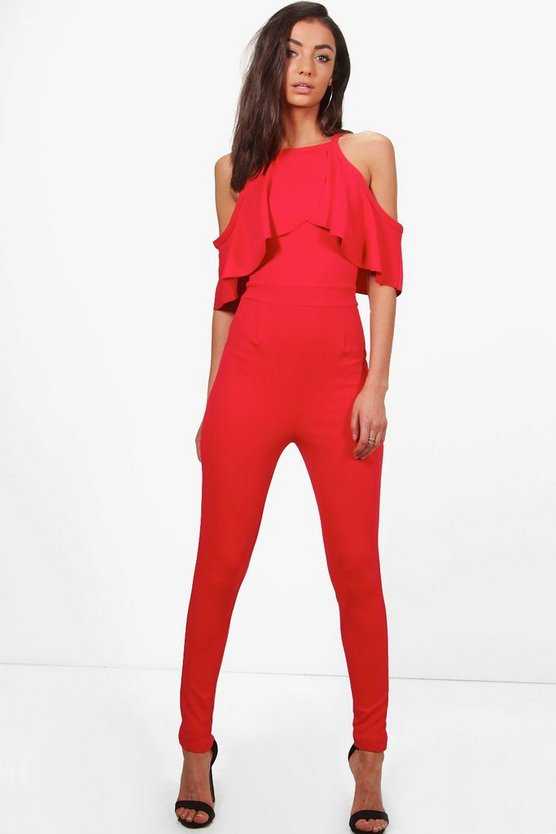 Tall Ruffle Cold Shoulder Jumpsuit