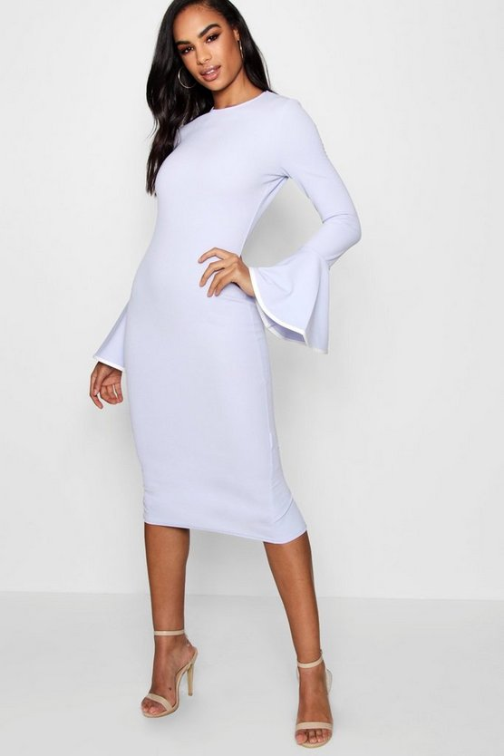Tall Afia Contrast Flared Sleeve Bodycon Dress