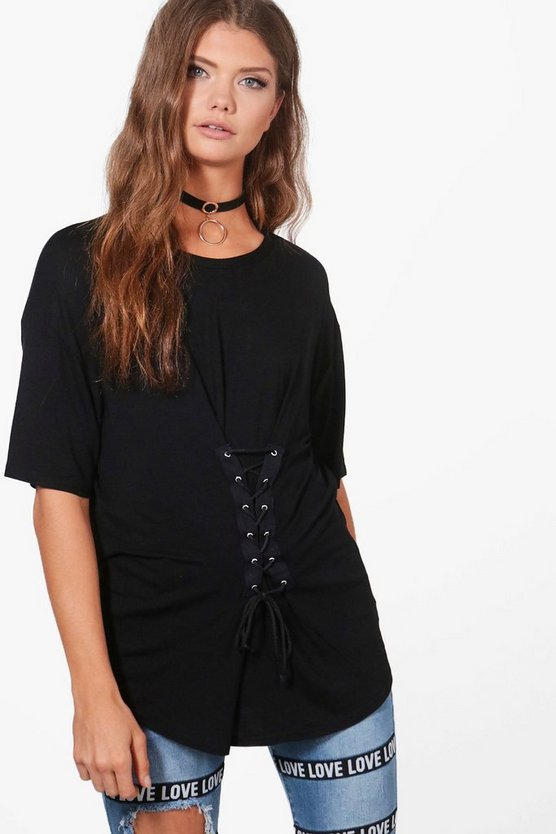 Tall Kaia Lace Up Front Oversized T-Shirt
