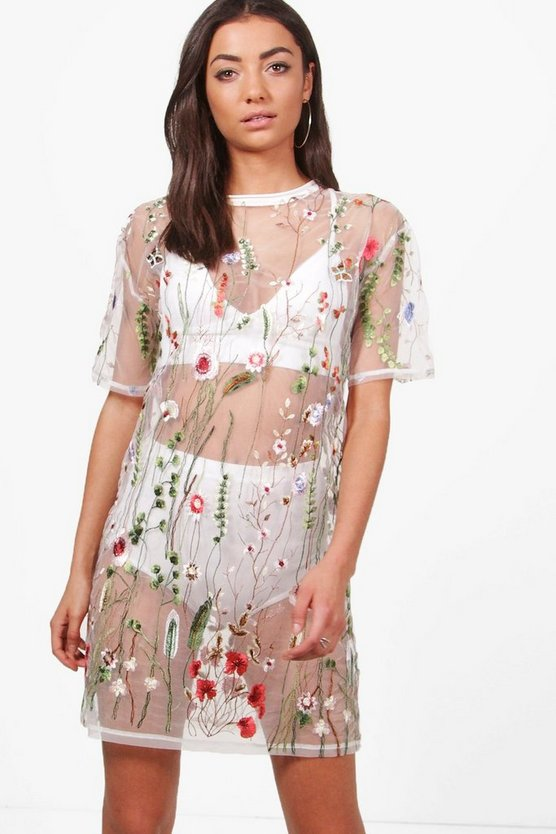 Tall Shay Sheer Embroidered Boxy Dress