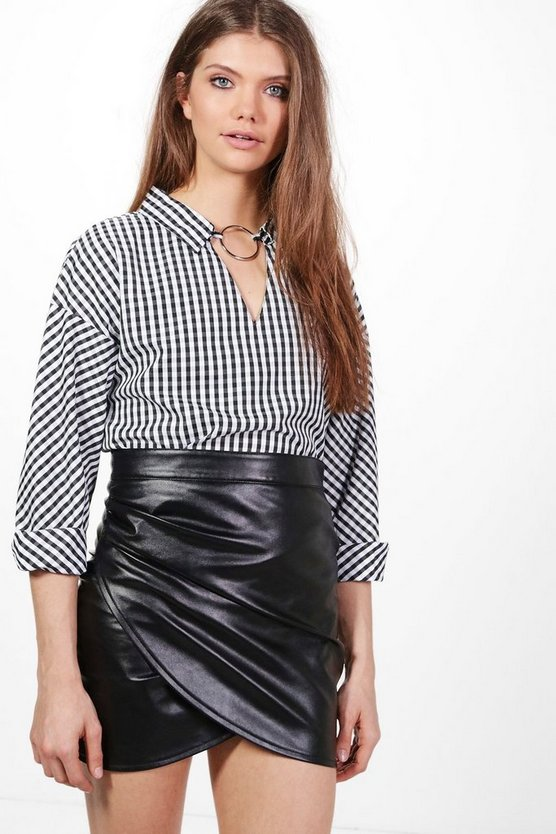 Tall Atara Gingham Ring Neck Detail Shirt