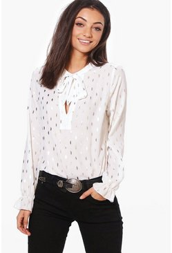 Tall Maella Metallic Tie Neck Woven Blouse