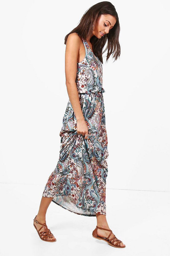 Tall Elise Paisley Print Twisted Maxi Dress