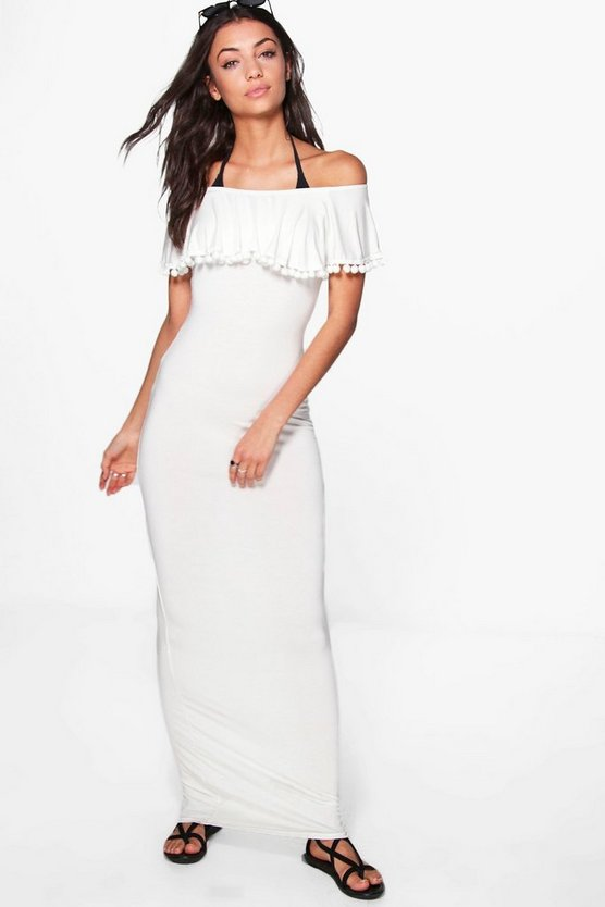 Tall Iya Pom Pom Off The Shoulder Beach Maxi Dress