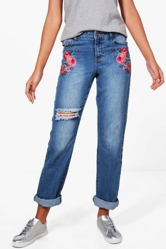 Tall Bethia Embroidered Boyfriend Jeans