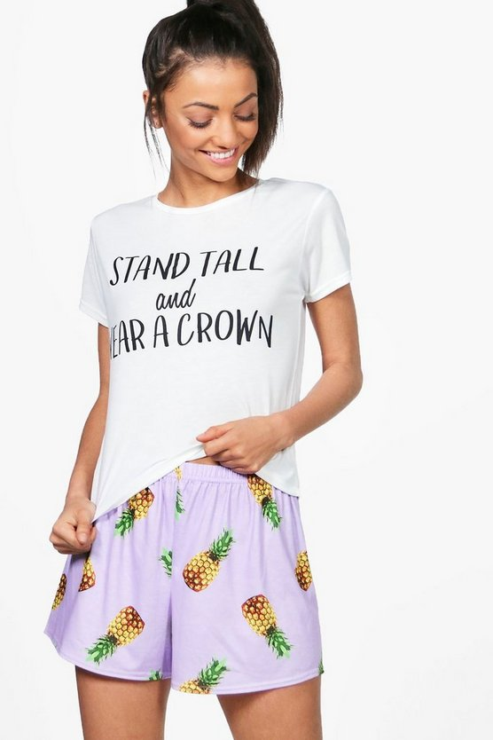 Tall Ana Stand Tall Pineapple T-Shirt & Shorts Set