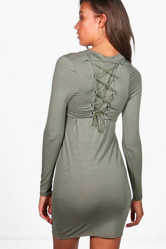 Tall Alia Lace Up Back Bodycon Dress