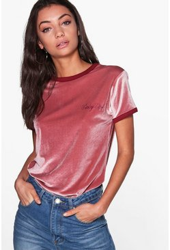 Tall Seline Slogan Velvet T-Shirt