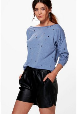 Tall Torra Distressed Slash Neck Sweatshirt