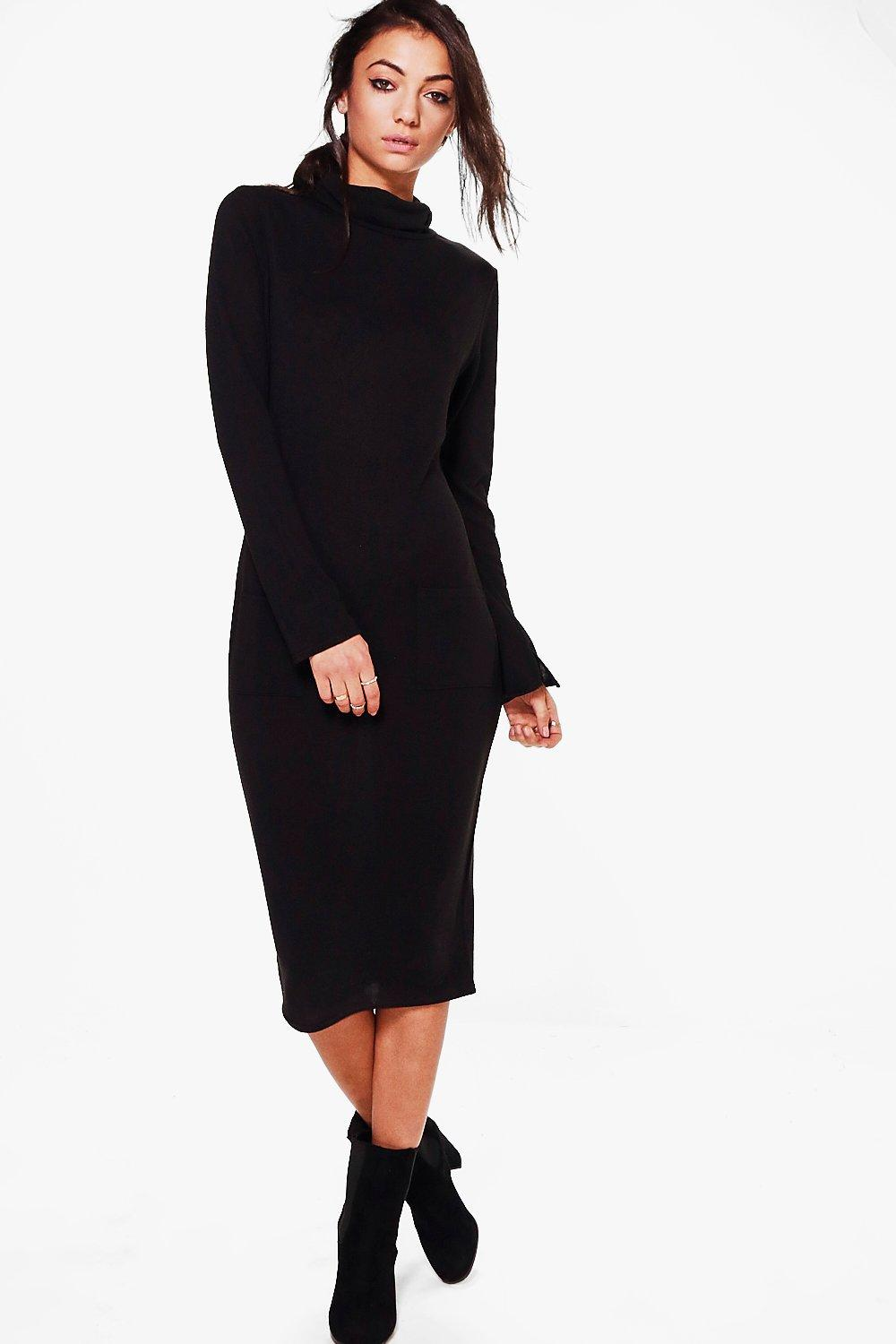 Sofie Knitted Roll Neck Dress  black