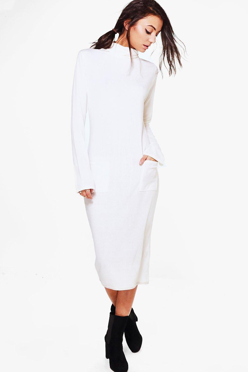 Sofie Knitted Roll Neck Dress  ivory
