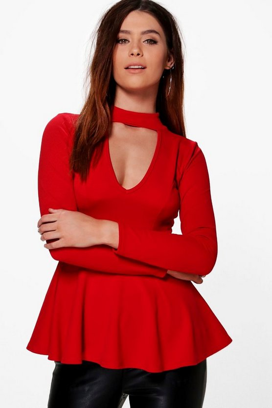 Tall Elspeth Extreme Plunge Choker Peplum Top