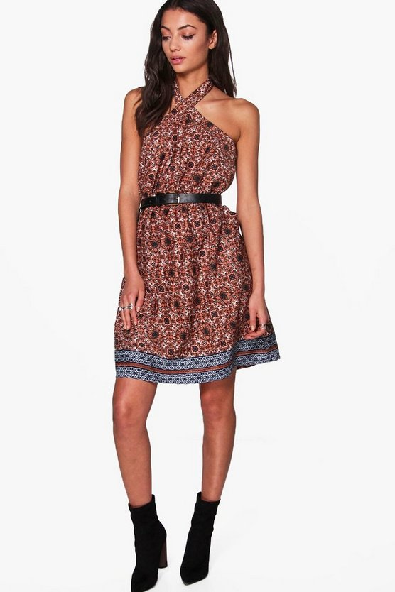 Tall Melise Mixed Print Woven Halter Dress