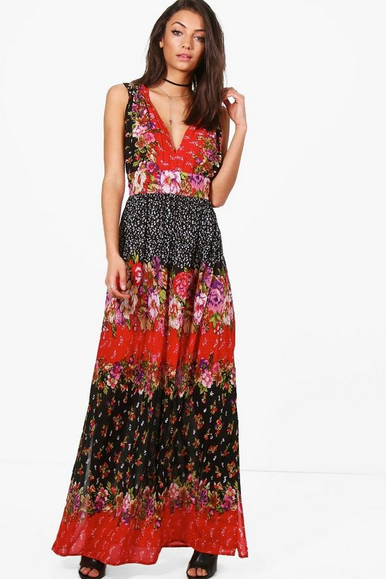 Tall Sofie Mixed Print Woven Maxi Dress