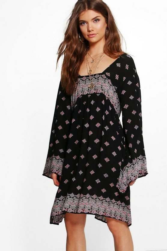 Tall Elli Mixed Print Wide Sleeve Dress
