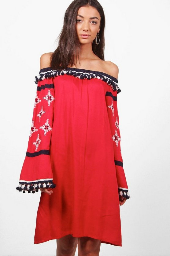 Tall Layla Boutique Pom Pom & Embroidered Dress