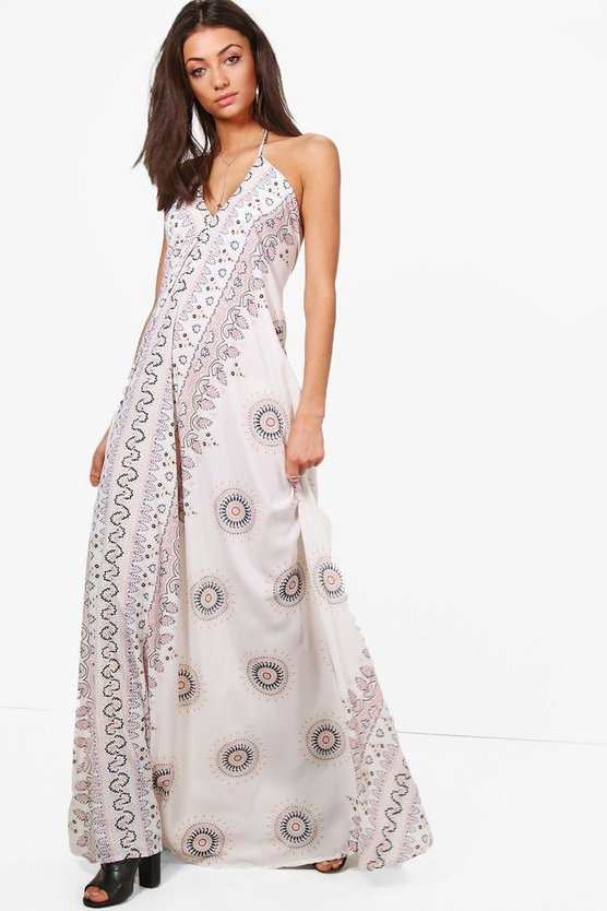 Tall Preya Printed Halter Neck Maxi Dress