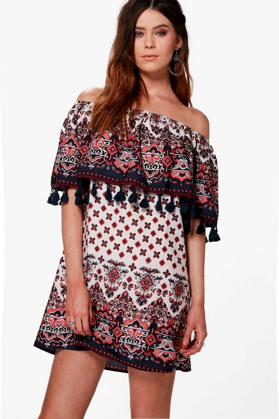 Tall Aliza Printed Tassle Off The Shoulder Dress