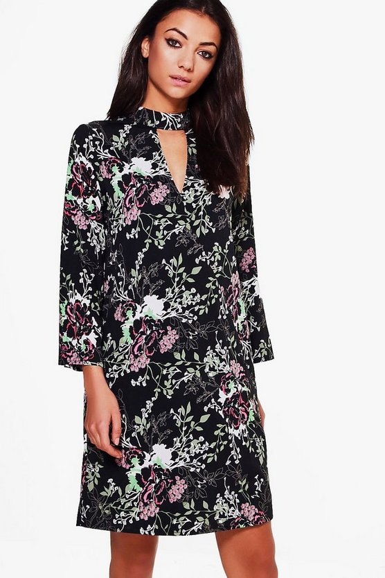 Tall Aenea Dark Floral Wrap Dress