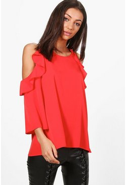 Tall Anya Woven Cold Shoulder Top