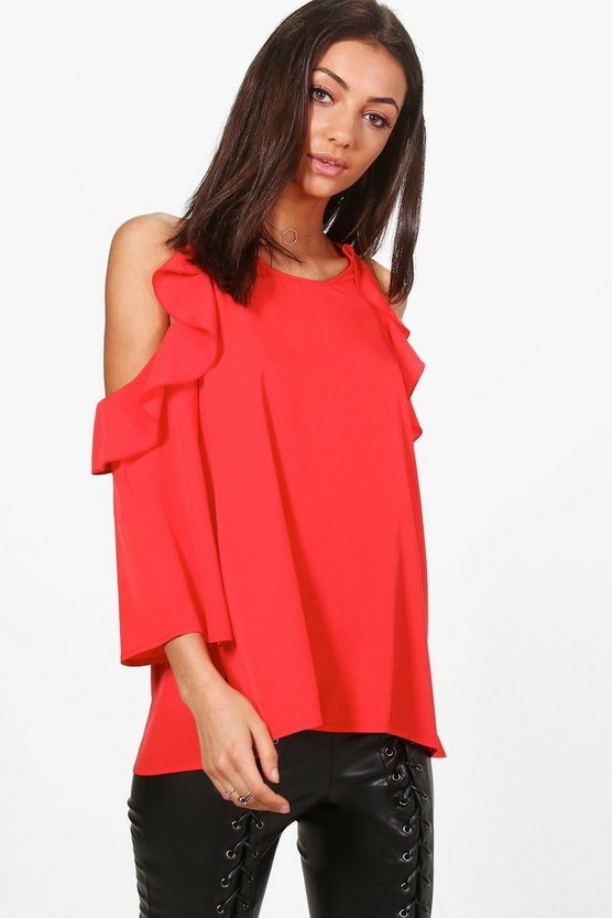 Tall Woven Cold Shoulder Top