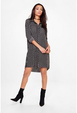 Tall Orla Mono Print Woven Shirt Dress