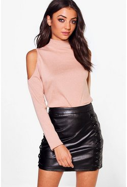 Tall Ayla Cold Shoulder High Neck Jumper