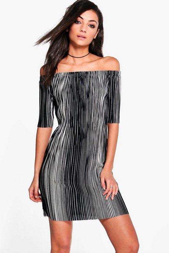 Tall Keyla Mixed Stripe Off The Shoulder Dress