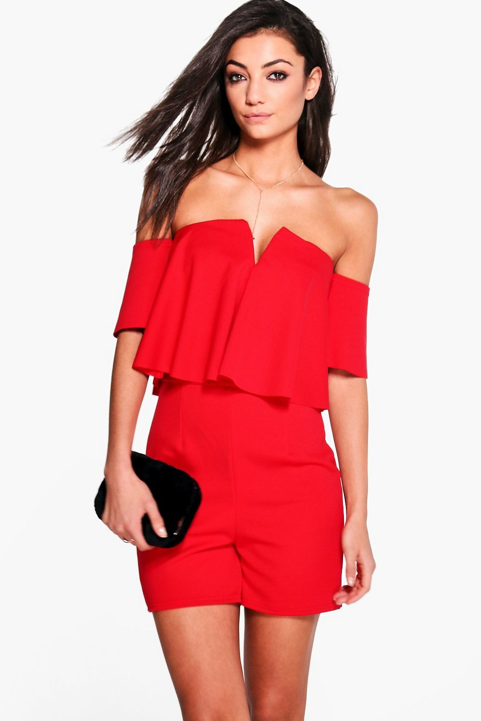 Sale For Cheap Boohoo Tall Frill Off The Shoulder Playsuit Explore Cheap Online Low Price Cheap Price Cheap Fast Delivery NK6j3Hi