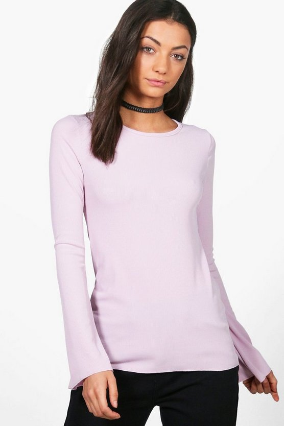 Tall Tarni Ribbed Flared Sleeve Top