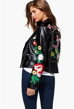 Tall Bethia Premium Embroidered Studded Biker