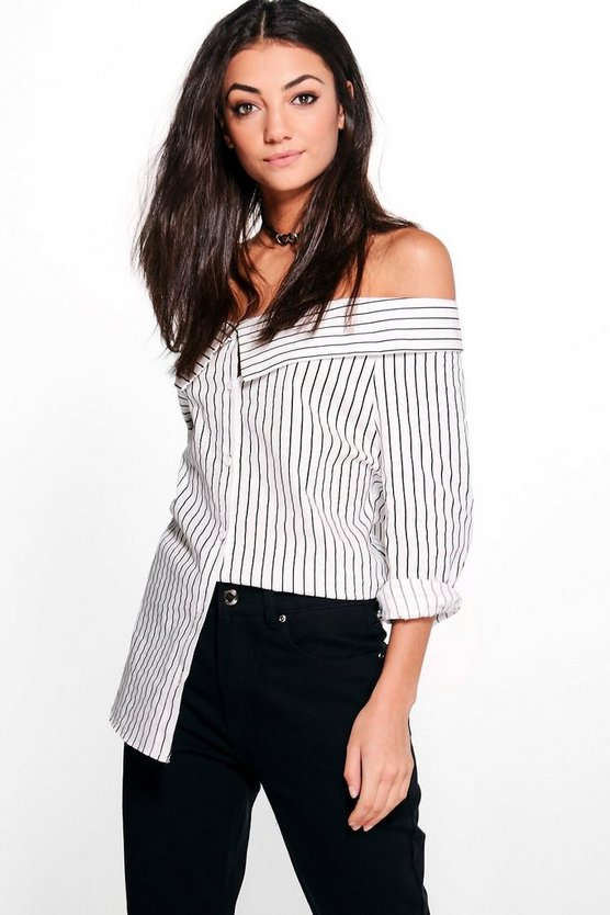 Tall Aya Striped Off The Shoulder Woven Top