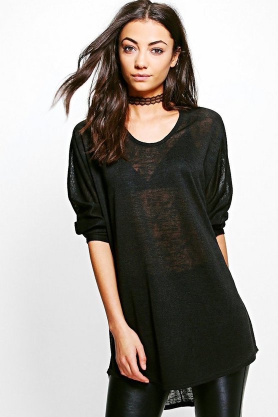Tall Essy Oversized Drapey Slub Jumper
