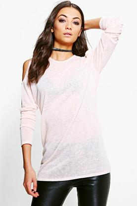 Tall Lyda Cold Shoulder Slub Jumper
