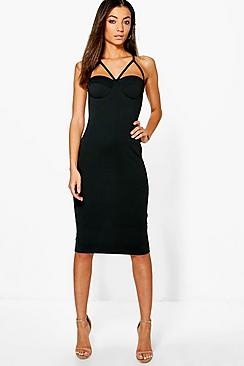 Tall Liana Multi Strap Cup Midi Bodycon Dress