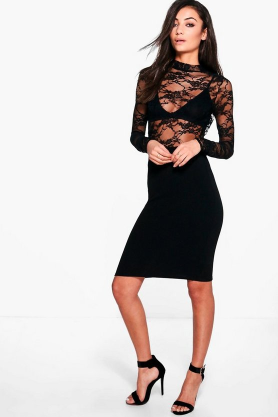 Tall Sofie Lace Top Midi Dress