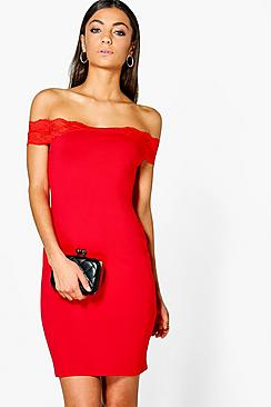 Tall Loula Lace Off The Shoulder Dress